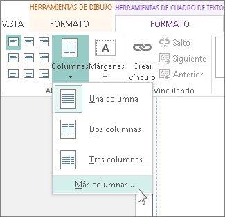 Espacio entre columnas de las herramientas de cuadro de texto