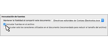 Cuadro de diálogo de incrustación de fuente con la casilla Incrustar fuentes en el archivo seleccionada
