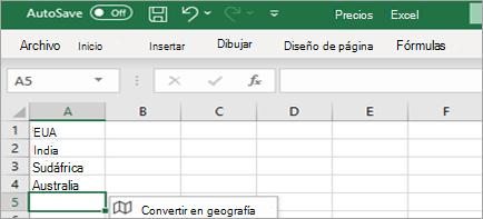 Muestra Convertir en tipo de datos de información geográfica