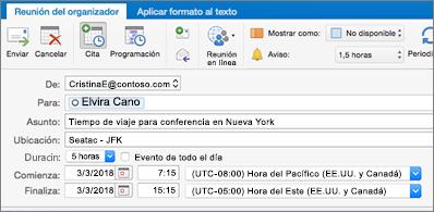 Invitación de reunión en la que se muestran dos zonas horarias diferentes
