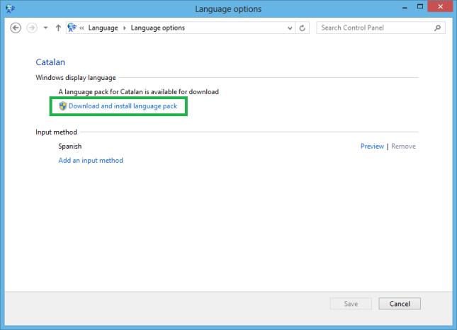 Descargar e instalar el paquete de idioma