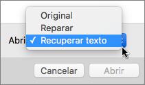 Haga clic en Abrir > Recuperar texto, y abra el documento dañado para intentar recuperarlo
