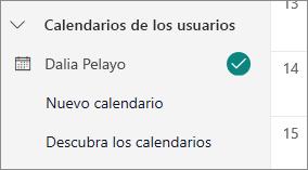Una captura de pantalla que muestra los calendarios de otras personas