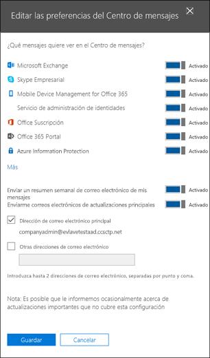 Preferencias del centro de mensajes edición página