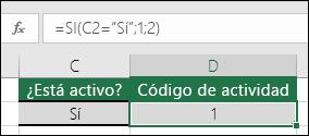 """La celda D2 contiene la fórmula =SI(C2=""""SÍ"""";1;2)"""