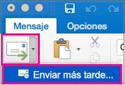 Seleccione la flecha situada junto al botón Enviar para retrasar el envío de correo electrónico