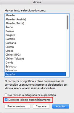 Configuración Detectar el idioma automáticamente de Outlook 2016 para Mac