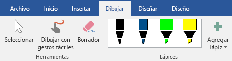 Lápices y marcadores de resaltado en la pestaña dibujar en Office 365