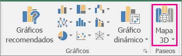 Opción Mapa 3D de Excel