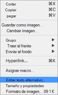 Excel 365 editar menú texto alternativo para imágenes