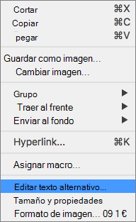 Menú de Excel 365 modificar Alt texto de imágenes