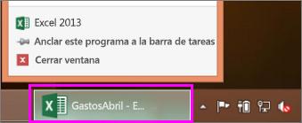 barra de tareas con el icono de libro de Excel