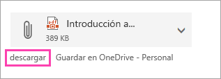 Captura de pantalla del botón Descargar