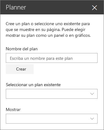 Cuadro de herramientas del elemento Web de Planner