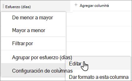 El panel editar columna en SharePoint con la opción eliminar seleccionada
