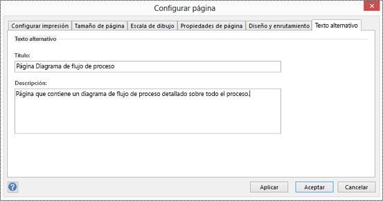Cuadro de diálogo Texto alternativo para una página en Visio.