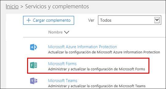 Configuración de administración de Microsoft Forms