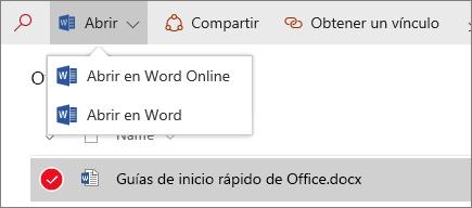 Captura de pantalla del menú Abrir en una biblioteca de documentos de una experiencia nueva.