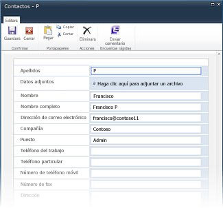 Formularios de lista de InfoPath para SharePoint