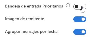 Captura de pantalla del botón de alternancia de la Bandeja de entrada Prioritarios