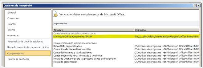 Opciones de PowerPoint, pantalla de complementos con el complemento STAMP resaltado