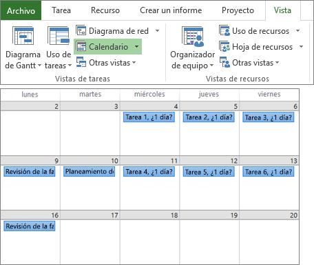 Captura de pantalla compuesta de los grupos Vista de tareas y Vista de recursos en la pestaña Vista y un plan de proyecto en la vista Calendario.