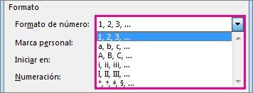 Elija el formato de numeración para las notas finales y notas al pie