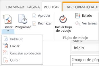 Enviar, publicar botones en la pestaña publicar en modo de edición.
