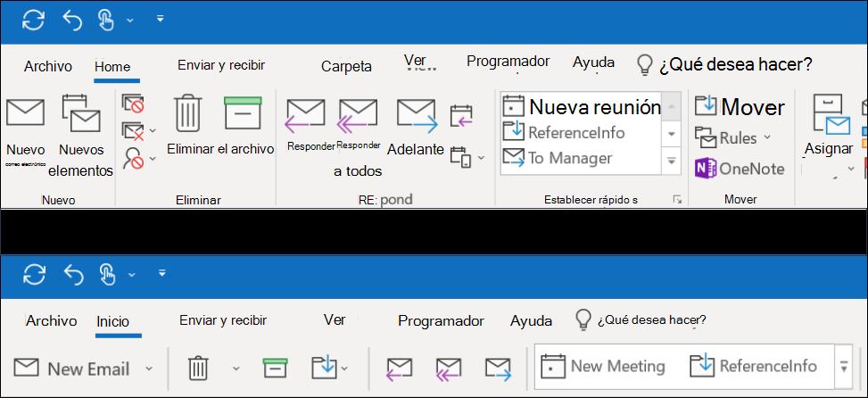 Ahora puede elegir entre dos experiencias diferentes de la cinta de opciones de Outlook.