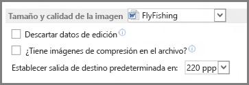 Opciones de tamaño y calidad de imagen de Word 2013