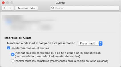Usar las preferencias de > de PowerPoint para activar la incrustación de fuentes para el archivo