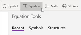 Seleccione la pestaña insertar y, después, elija ecuación.