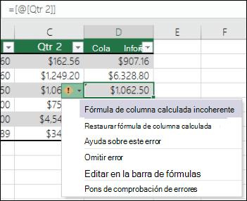 Notificación de error de fórmula incoherente en una tabla de Excel