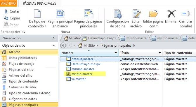 Lista de páginas maestras de SharePoint 2010.