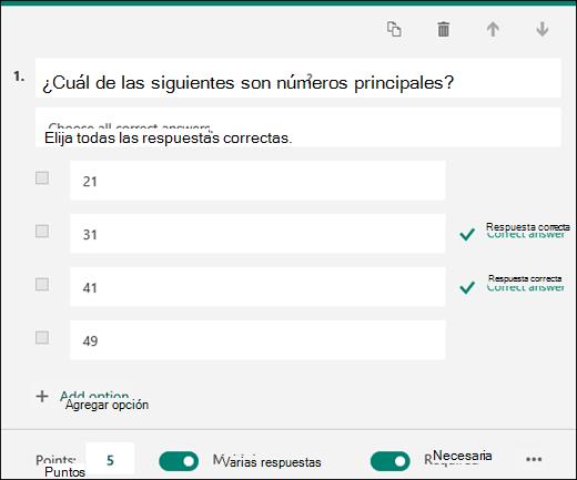 Una pregunta de cuestionario que se muestra con las opciones y con las respuestas correctas marcadas.