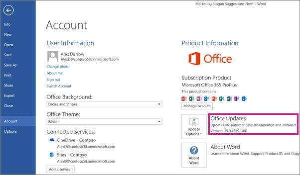 Comprobación de actualizaciones de Office en Word