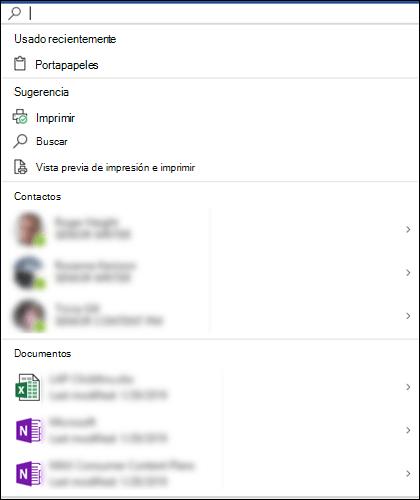 El cuadro de Búsqueda de Microsoft seleccionado