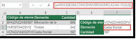 Si está usando las funciones INDICE/COINCIDIR cuando tiene un valor de búsqueda superior a 255 caracteres necesitan escribirse como una fórmula de matriz.  La fórmula de la celda F3 es =INDICE(B2:B4,COINCIDIR(VERDADERO,A2:A4=F2,0),0), y se escribe presionando Ctrl+Mayús+Entrar