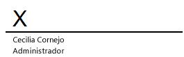 Una línea de firma en Word con una X indicando dónde debería ir la firma