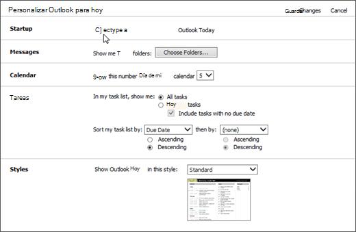"""Captura de pantalla del panel Personalizar Outlook para hoy en Outlook, que muestra las opciones disponibles para inicio, mensajes, calendario, tareas y estilos. Cursor apunta a la casilla de verificación """"Al iniciar, ir directamente a Outlook para hoy""""."""