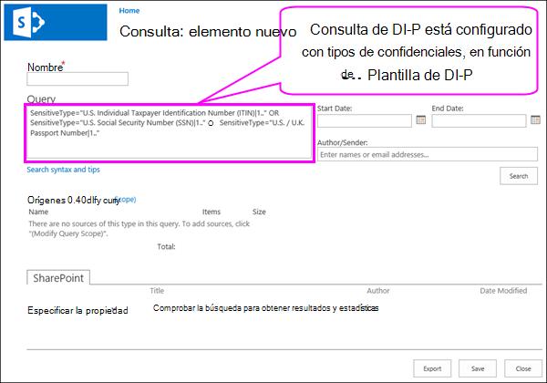 Consulta DLP que contiene los tipos de información confidencial