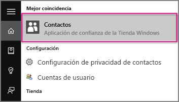 Escriba Personas en Windows 10.