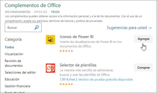 Captura de pantalla de la página de complementos de Office, donde puede seleccionar o buscar un complemento de Excel.
