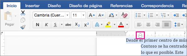 como aplicar sangria en word para mac