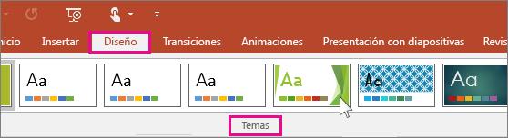 Muestra los temas de diseño de PowerPoint