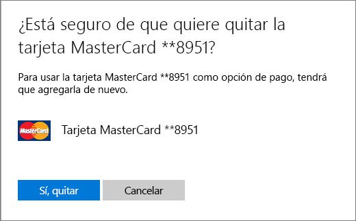 La página de comprobación para quitar una tarjeta de crédito.