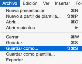 Muestra el archivo > Guardar como menú en PowerPoint 2016 para Mac.