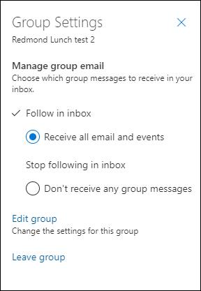 Puede dejar un grupo desde la Configuración del grupo.