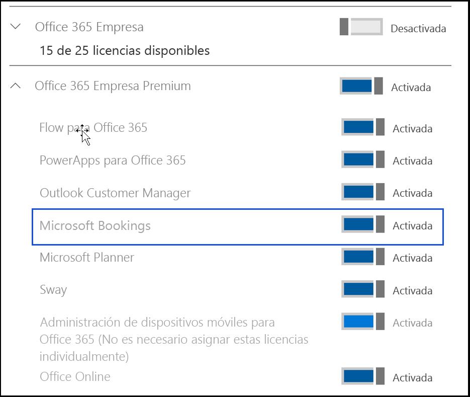 Captura de pantalla que muestra la configuración de Microsoft Bookings a estar desactivada en licencias de producto del usuario.