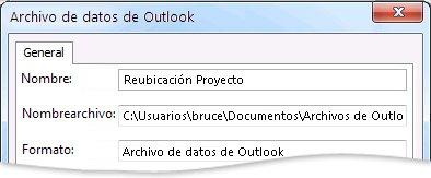 Cuadro de diálogo Archivo de datos de Outlook